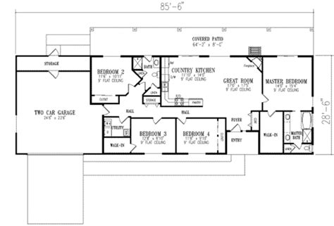2 bedroom ranch house plans ranch style house plan 4 beds 2 baths 1720 sq ft plan 1 350