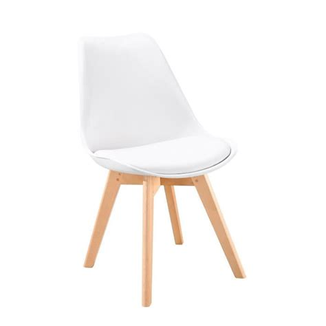 chaise blanche pied en bois bjorn chaise scandinave de salle à manger blanche achat
