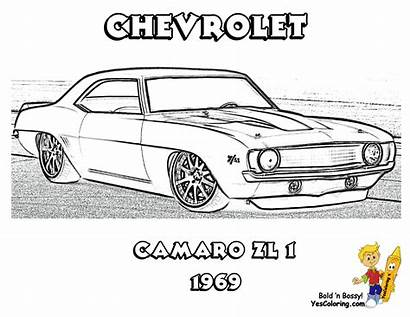 Muscle Camaro 1969 Chevrolet Coloring Yescoloring Zl1