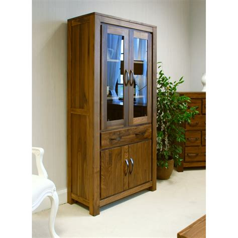 Wood Bookcase Cabinet by Mayan Large Glazed Bookcase Display Cabinet Solid Walnut