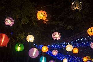 Colored lanterns at night Photo | Free Download