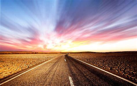 outdoor travel desert road sunset preview wallpapercom