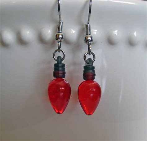 holiday light bulb earrings old fashioned red christmas