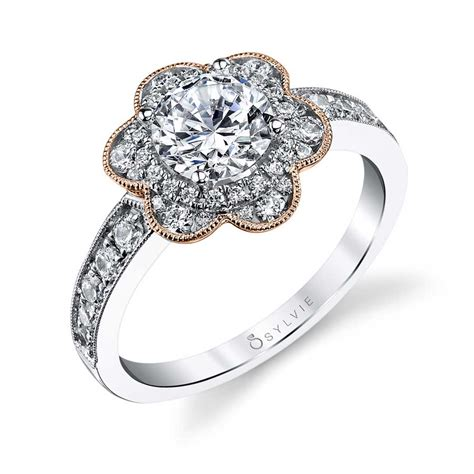 adelia flower inspired halo engagement ring s1192