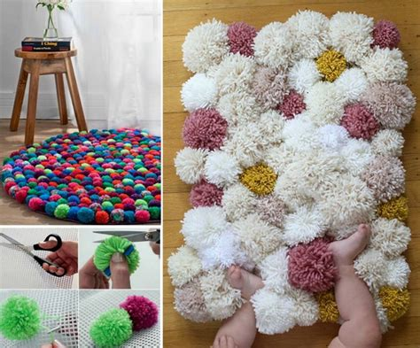 Pom Pom Rug by Wonderful Diy Easy Finger Pom Poms