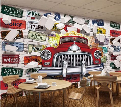 custom photo mural  wallpaper vintage car license plate picture decoration painting  wall