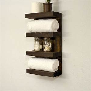 bathroom towel rack 4 tier bath storage floating shelf With bathroom towel racks and shelves
