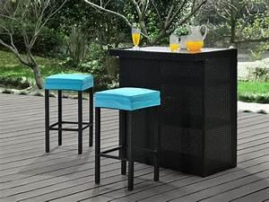 Bar Exterieur De Jardin : bar et 2 tabourets de jardin mambo en r sine tress e ~ Dailycaller-alerts.com Idées de Décoration