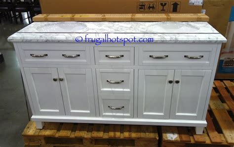 Costco Sink Vanity by Costco 60 Quot Sink Wood Vanity White W Carrara Marble