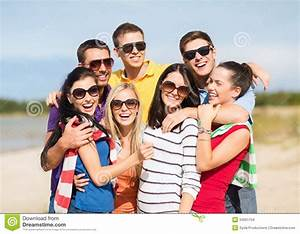 Group Of Friends Having Fun On The Beach Stock Images ...