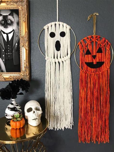 macrame halloween wall hanging diy