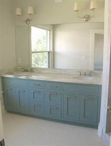 Blue vanity contemporary bathroom benjamin moore van for Best brand of paint for kitchen cabinets with bathroom wall art sets