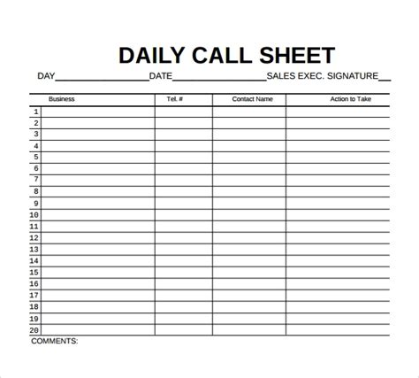 free 10 sle call sheet templates in free sle exle format