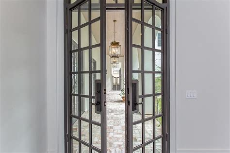 gray steel patio doors with glass panels