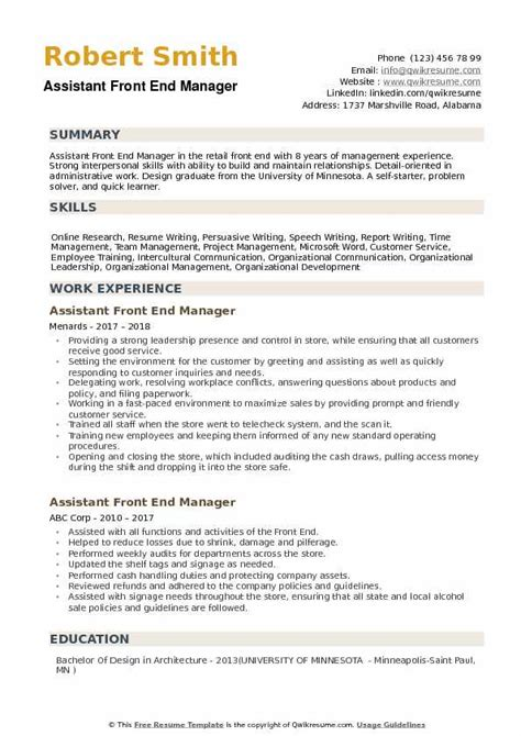 assistant front  manager resume samples qwikresume