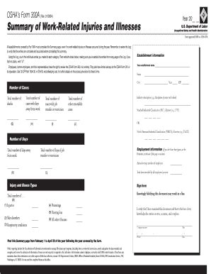 osha 300a form in pdf printable blank to fill out