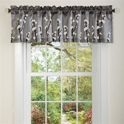 White And Silver Valance by Lush Decor Black Silver Cocoa Flower Valance