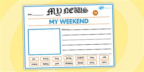 weekend newspaper writing template writing template