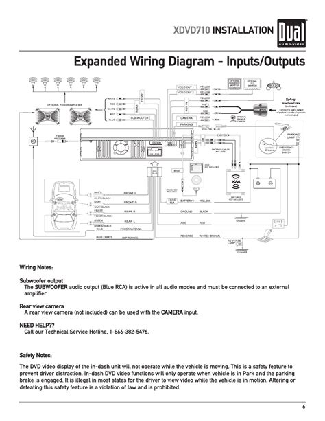expanded wiring diagram inputs outputs xdvd710 installation dual xdvd710 user manual page