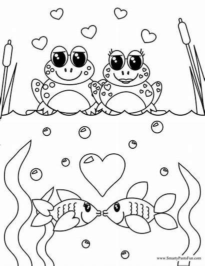 Coloring Pages Frog Valentine Valentines Adult Couples