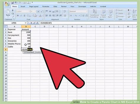create  pareto chart  ms excel   steps