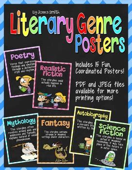 literary genre posters  musings   middle school tpt