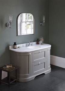 add a touch of colour with our dark olive curved vanity With curved bathroom units