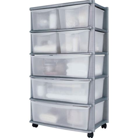 Plastic Drawers by Buy Home 7 Drawer Plastic Wide Tower Storage Unit Silver
