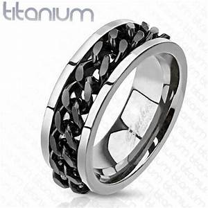 new titanium mens silver w black spinner chain wedding With mens spinner wedding rings