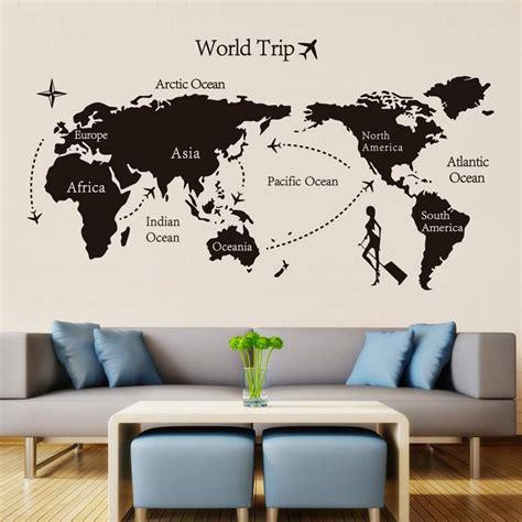 black trip world map vinyl wall stickers  kids room