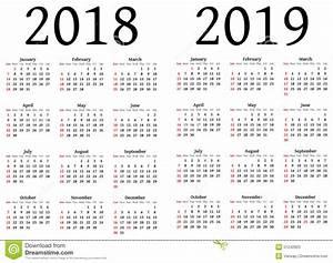 Kalender för 2018 och 2019 stock illustrationer