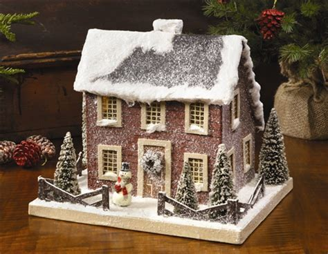 Colonial Christmas House Red by Ragon House