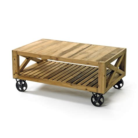 Chatsworth Reclaimed Wood Coffee Table On Wheels Natural