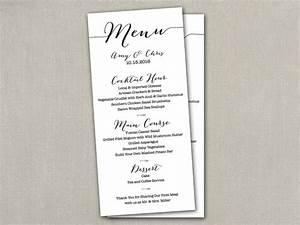 wedding reception table menu menus size cards 4 x 9 With size of wedding menu cards