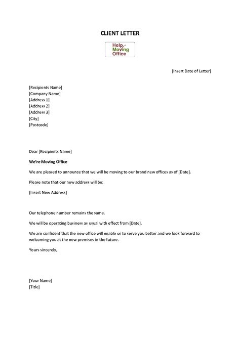 business relocation letter sample office