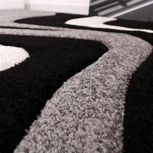 Teppich Schwarz Weiß Grau : designer teppich mit konturenschnitt wellen muster schwarz grau weiss teppiche kurzflor teppiche ~ Eleganceandgraceweddings.com Haus und Dekorationen