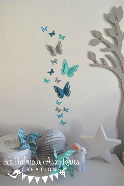 chambre bleu et gris stickers papillons gris turquoise caraïbe pétrole blanc