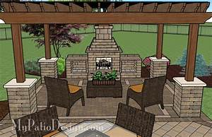 Pergola Covered Fireplace Patio