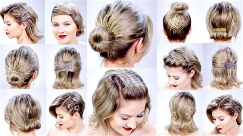 super easy hairstyles  bobby pins  short hair milabu youtube