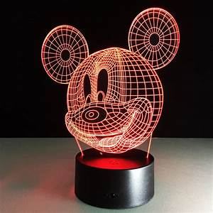 Mickey Mouse Cartoon Table Lamp With 3D Effect LED Night ...