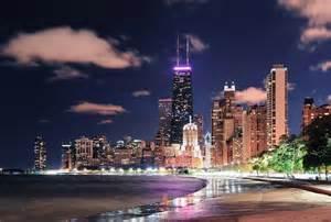 Oak Street Beach Chicago at Night