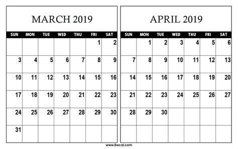 march  april calendar    printable