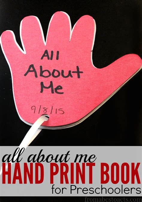 all about me print book for preschoolers from abcs 779 | Hand Print All About Me Book