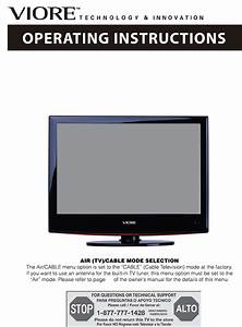 Viore Flat Panel Television Led24vf60 User Guide