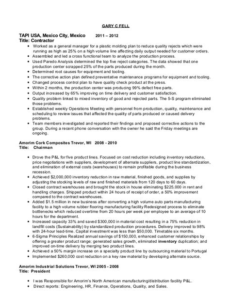 Resume For General Manager Manufacturing by G C Fell Resume President General Manager