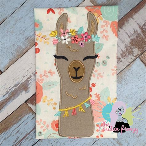 floral llama applique embroidery design  creative frenzy