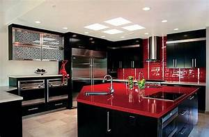 Red, And, Black, Modern, Kitchen, Luxury, Homes, House, Design, Counters, Decor, Interior