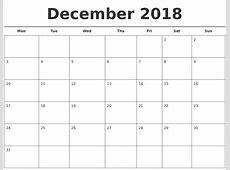 December 2018 Free Calendar Template
