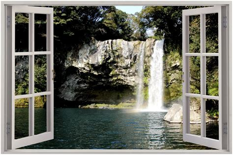 wall mural decals uk 3d window waterfall view wall sticker mural decal