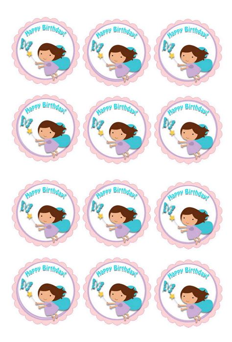 fairy cupcake toppers birthday printable